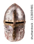 a medieval helmet isolated over ...