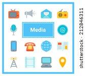 flat media icons set. perfect...