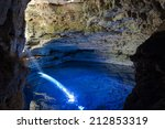 Cave With Blue Transparent...
