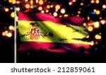 Spain National Flag Torn Burned War Freedom Night 3D - stock photo