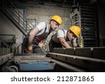 worker and foreman in a safety... | Shutterstock . vector #212871865