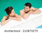 young cheerful couple relaxing... | Shutterstock . vector #212873275