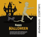 fun card happy halloween  with... | Shutterstock .eps vector #212875891