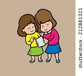 girls read note together | Shutterstock .eps vector #212881321