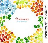watercolor floral frame. design ... | Shutterstock .eps vector #212902291