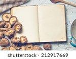 the blank cookbook and shiitake - stock photo