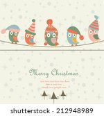 christmas card with cute owls