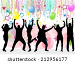 dancing silhouettes | Shutterstock .eps vector #212956177