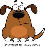 Cartoon illustration of a funny dog with a worried expression.  - stock vector