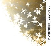 white snow flakes on a golden... | Shutterstock . vector #21297637