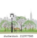 bench and streetlight in park... | Shutterstock .eps vector #212977585