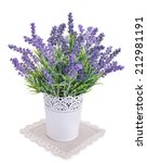 pot with lavender isolated on a ... | Shutterstock . vector #212981191