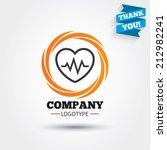 heartbeat sign icon. cardiogram ... | Shutterstock .eps vector #212982241