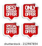 weekend offer speech bubbles... | Shutterstock .eps vector #212987854