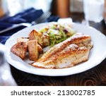 pan fried tilapia with asian... | Shutterstock . vector #213002785