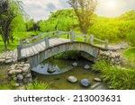 garden bridge silence scene. | Shutterstock . vector #213003631