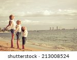 three happy children standing... | Shutterstock . vector #213008524