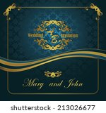 wedding invitation.vintage gold ... | Shutterstock .eps vector #213026677