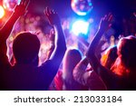 crowd of people with raised... | Shutterstock . vector #213033184