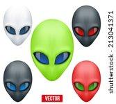 set of alien head creature from ...   Shutterstock .eps vector #213041371
