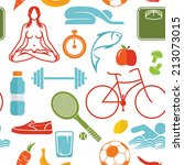 healthy lifestyle pattern | Shutterstock .eps vector #213073015