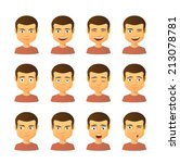 isolated set of male avatar... | Shutterstock .eps vector #213078781