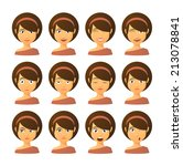 isolated set of female avatar... | Shutterstock .eps vector #213078841