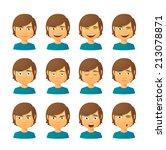isolated set of male avatar... | Shutterstock .eps vector #213078871