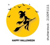 vector silhouette of witch... | Shutterstock .eps vector #213091111