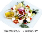 greek salad in the white plate... | Shutterstock . vector #213102019