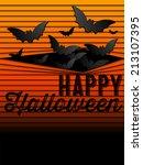 happy halloween ghost bat icon... | Shutterstock .eps vector #213107395