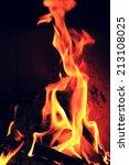 fire flames on a black... | Shutterstock . vector #213108025