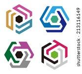 abstract hexagon logo pattern.... | Shutterstock .eps vector #213116149