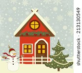 greeting christmas card with... | Shutterstock .eps vector #213130549
