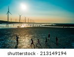 Sillouette Of Wind Turbine...