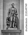 Small photo of SPRINGFIELD, ILLINOIS - AUGUST 11: Abraham Lincoln statue in the rotunda of the Illinois State Capitol building on August 11, 2014 in Springfield, Illinois