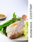 steamed fish with vegetables... | Shutterstock . vector #213157069