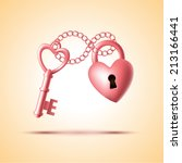 heart shape lock with key | Shutterstock .eps vector #213166441