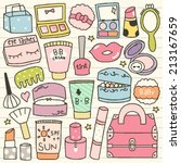 set of cute cosmetic doodle | Shutterstock .eps vector #213167659