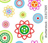Colorful seamless circled hearts pattern on white background - stock vector