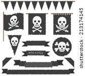 set of black pirate flags ... | Shutterstock .eps vector #213174145