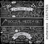 doodle social media icons set... | Shutterstock .eps vector #213175321