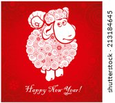 funny sheep on bright red... | Shutterstock .eps vector #213184645
