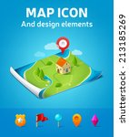 vector map icon | Shutterstock .eps vector #213185269