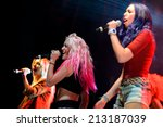 Small photo of BARCELONA - MAY 23: Sweet California (girl band) at Primavera Pop Festival by Los 40 Principales on May 23, 2014 in Barcelona, Spain.