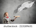 young woman in casual with book ... | Shutterstock . vector #213189631