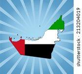 uae map flag on blue sunburst... | Shutterstock .eps vector #213204019
