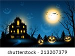 horizontal halloween haunted... | Shutterstock .eps vector #213207379