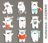 Cartoon White Baby Bears In...