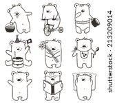 cartoon baby bears in action... | Shutterstock .eps vector #213209014